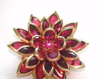 Red Crystal Flower  Brooch Gold Tone.