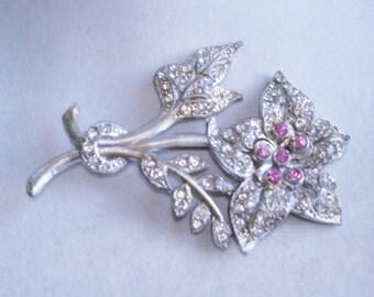"""Clear Pink Rhinestone Gold Tone  Flower Brooch Silver Tone 3.75"""" x 2.75"""""""