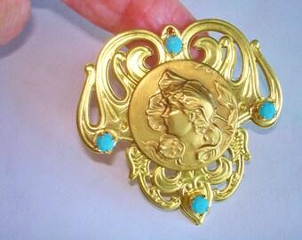 Bonnet  Lady Brooch Gold Tone Repousse Blue Stones