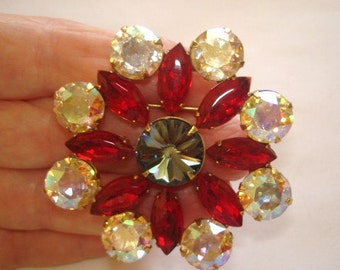 Ruby Red and AB Rhinestone Brooch Gold Tone