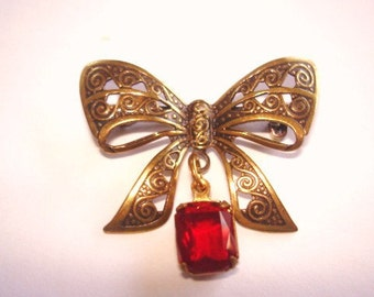 Bow Brooch Ruby Glass Stones