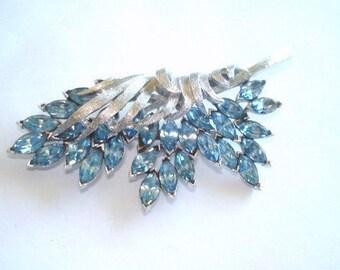 Signed Coro Blue Rhinestone Silver Tone Leaf Brooch