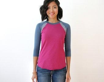 CLEARANCE - ColorBlock Tshirt, Baseball Tee, Casual Tshirt, Modal Bamboo Jersey, Womens Tshirt, Organic Top, Purple Blue, Gray T - AMANDA
