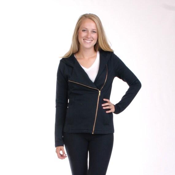 CLEARANCE - xs only - Black Asymmetric Hoodie, Black Hoodie Jacket, Slanted Zipper Sweatshirt, Bamboo Sweatshirt, Organic Fleece - HANNAH