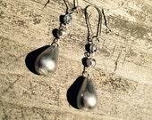 Earrings - Smokey Grey Pearl Teardrops - Kidney Ear Wires