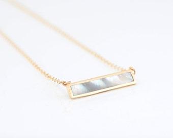 Gold Bar Abalone Necklace, Mother of Pearl Necklace, Gift for Wife, Stone Jewelry, Abalone Inlay Bar Necklace, Layered Crystal Pendant