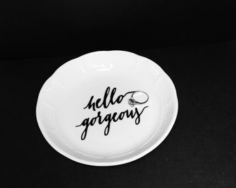 Hello Gorgeous Jewelry Dish | Beautiful | Ring | Earring | Wedding | Gift | Love | Bridesmaid | Black | Gold | Porcelain | engagement