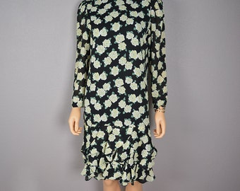 80s Ruffle Dress Black with White Gardenia Floral Print Long Sleeve Shift Dress 80s Clothing Epsteam