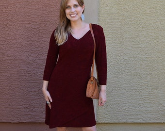 90s Burgundy Dress Long Sleeve Knee Length Fitted Dress Fall Winter Dress Stretchy 90s Clothing Epsteam