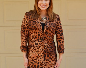 Leopard Print Blazer 90s Clothing Long Fitted Blazer Brown and Black Blazer Vintage Blazer Epsteam