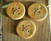 Unique Hand made wooden Button Natural X 3 buttons