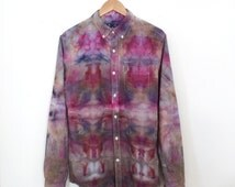 Psychedelic Button Down - Long Sleeve - Medium M - Watercolor Vibes - Upcycled
