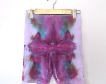 Psychedelic Ice-Dyed Bike Shorts - Size Small - S - Watercolor Vibes