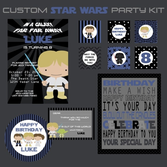 Star Wars Birthday Party Printable Kit Custom Invitations