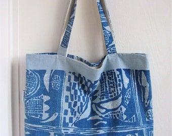 Beautiful Batik Blues - OOAK Blue Ethnic / Tribal Textile - Market / Diaper Bag - Eco Friendly Fashion - Sister / Mom / Friend Gift Under 50