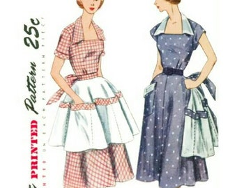 Vintage 1950s Sewing Pattern  Portrait Collar Dress Pattern Square Neck Patch Pocket  Deep Pocketed Apron 1951 Simplicity 3550 Bust 32
