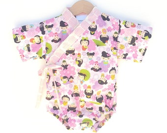 Baby Kimono Bodysuit - Kokeshi Girls - Baby summer outfit - cool baby clothes japanese jinbei