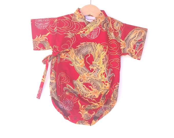 Baby Kimono Bodysuit - Red Golden Dragon - baby toddler - cute baby clothes japanese jinbei