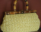 Held 4 Teresa SOLD Vintage Mid Century Bright Sunny Yellow Raffia Kelly Bag