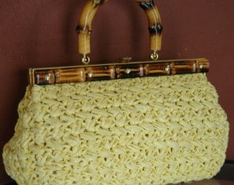 Vintage Mid Century Bright Sunny Yellow Raffia Kelly Bag