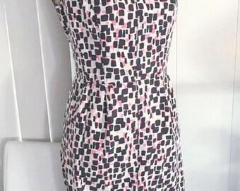 Vintage Mid Century Print Shift Dress -- Repro -- Size M-L