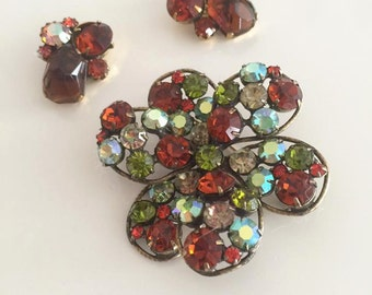 Fabulous Vintage Sparkly Rhinestone Brooch and Matching Clip Earrings -- Mid Century Weiss