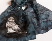 Harry Potter Lover Book Scarf Hand Painted Silk Potter Quotes Literary Scarf Deathly Hallows Owl Hedwig