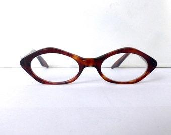 Tortoiseshell Eyeglasses Oval Vintage 1950's Women's Made in France