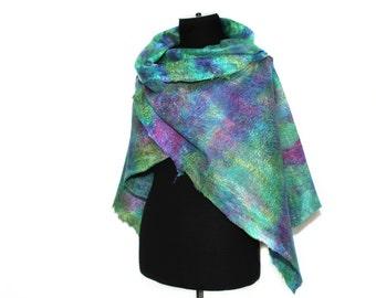 Handmade Felted Wrap Scarf Hand Dyed Multicolor Long Wool Silk Felted Scarf OOAK Felt Gift Summer Fashion