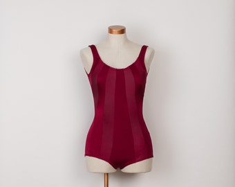 1970s One Piece Swimsuit - Vintage 70s Striped Burgundy Wine Maillot Bathing Suit - M / L - Bust 38""