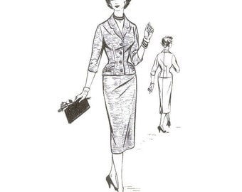1950s Misses Two Piece Tailored Suit Pattern Woman W 346 B34