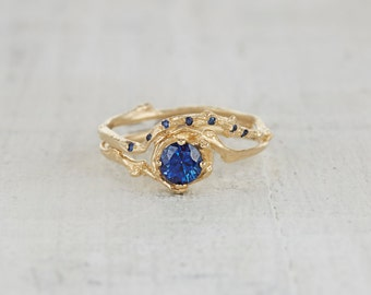 5mm Naples Sapphire Engagement Ring - 14kt Gold and Blue Sapphire Customizable Twig Engagement Ring