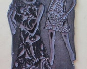 Vintage 1960s Sears Advertising Printing Plate-Women in Chic Sheath Dresses