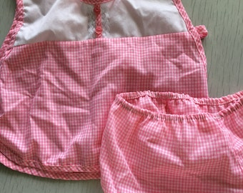 Pink gingham apron top and bloomers set 18m