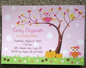 Fall Birthday Invitations with Owls and Birds
