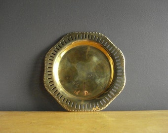 Brass Tray - Small Punched Pattern Brass Tray - Simple Brass Tray