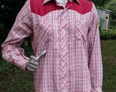 Mens 70s Western Shirt/ Vintage Shirt/ Rockabilly Shirt/ Vintage Western Shirt/ 70s Shirt/ Plaid Shirt by Dutchmaid Mens Size S
