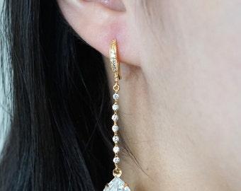 Padma - Champagne Gold Wedding Earrings Bridesmaid Earrings Bridal Jewelry Wedding Clear Swarovski Crystal Tear Drops with Cubic Zirconia