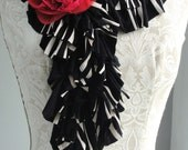 SALE - Double Ruffle SCARF by FAIRYTALE13 - black and cream striped Jersey with RED rose pin brooch.