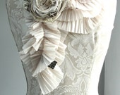 SALE - CREAM Pleated textured SCARF by FAIRYTALE13 with mixed fabric rose brooch pin.