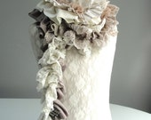 SALE - MINI Patchwork PETAL textured scarf by Fairytale13 - cream, taupe, silver and natural tones - Handmade in the Uk.