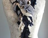 SALE - patchwork petal SCARF by FAIRYTALE13 - navy blue, cream, nautical stripe & lace.