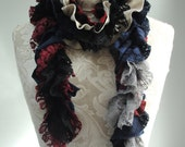 SALE - patchwork PETAL scarf by FAIRYTALE13 - Deep Red, Taupe, black, navy, Stripe and vintage inspired lace fabrics.