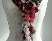 SALE - patchwork petal SCARF by FAIRYTALE13 - reds, browns, gold, taupe, stripe and lace mix.