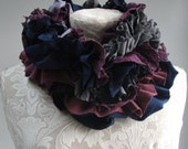 SALE - patchwork petal SCARF by FAIRYTALE13 - deep purple, navy blue and grey.