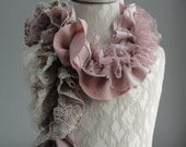SALE - girls MINI Patchwork PETAL textured scarf by Fairytale13 - antique pink, taupe, gold and lace - Handmade in the Uk.