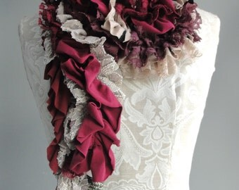 SALE - patchwork PETAL scarf by FAIRYTALE13 - Deep Red, Taupe, dark pink, Purple, Stripe and vintage inspired lace fabrics.