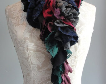 SALE - patchwork petal SCARF by FAIRYTALE13 - navy blue, greys, black, red, purple & green.