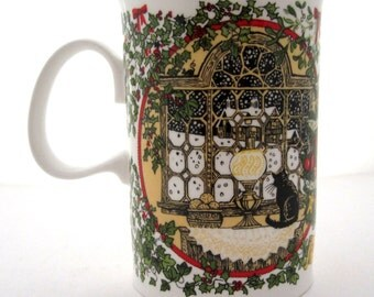 "DUNOON MUG Sue Scullard ""Christmas"" Bone China Made in England"