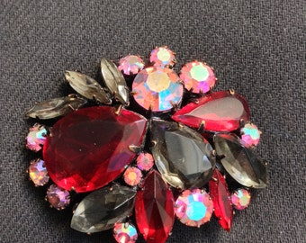 Vintage Rhinestone Brooch, Pin. Large Size.  Hollywood Glamour.  Fabulous Ruby Red, Grey, and Pink AB crystal stones.
